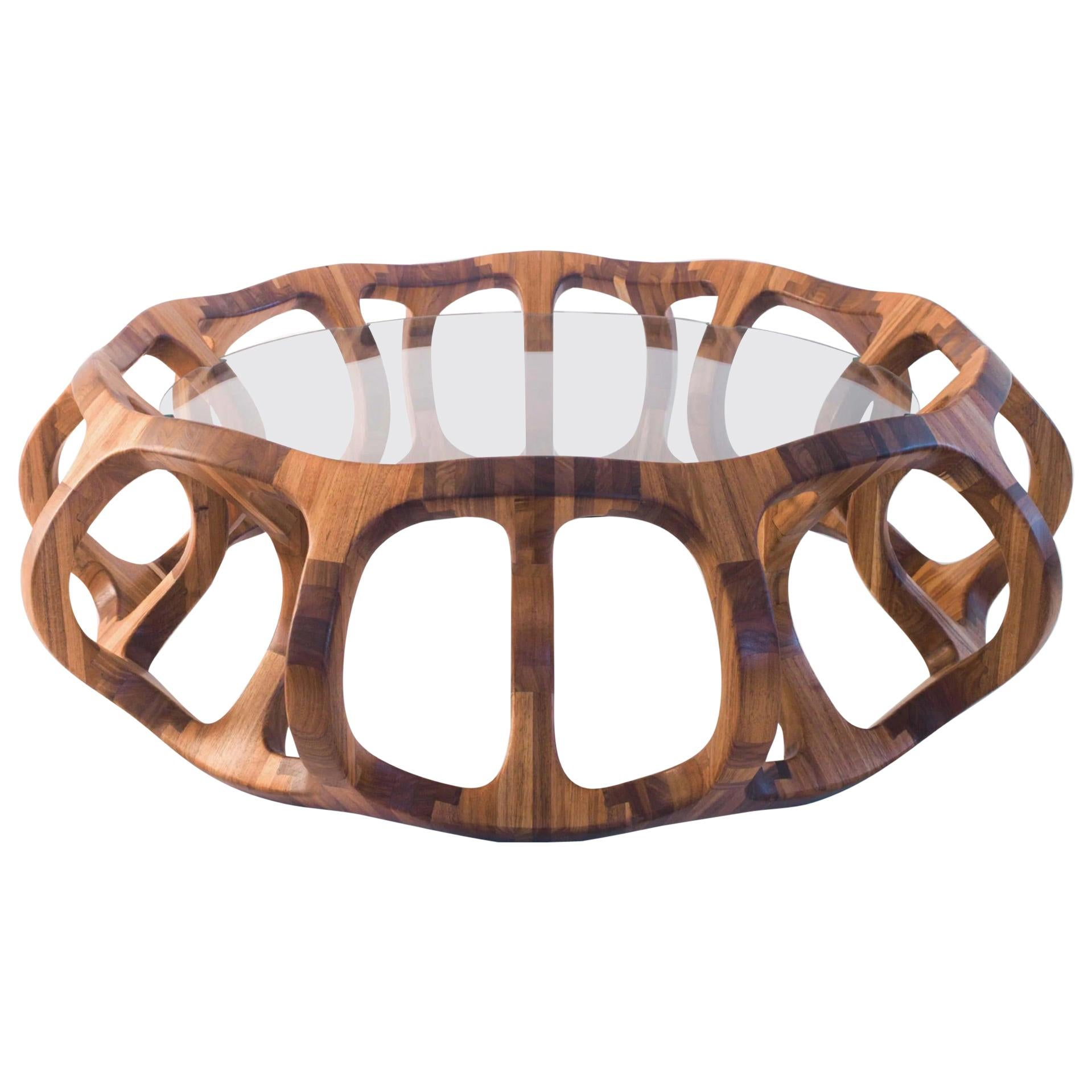 Wood Center Table hand crafted in Tzalam polished wood from Mexico City