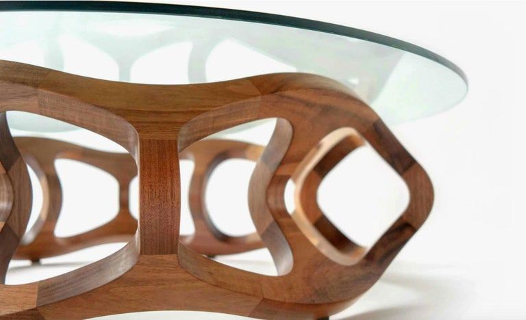 Polished Contemporary Center Table in Tzalam Wood from Mexico For Sale