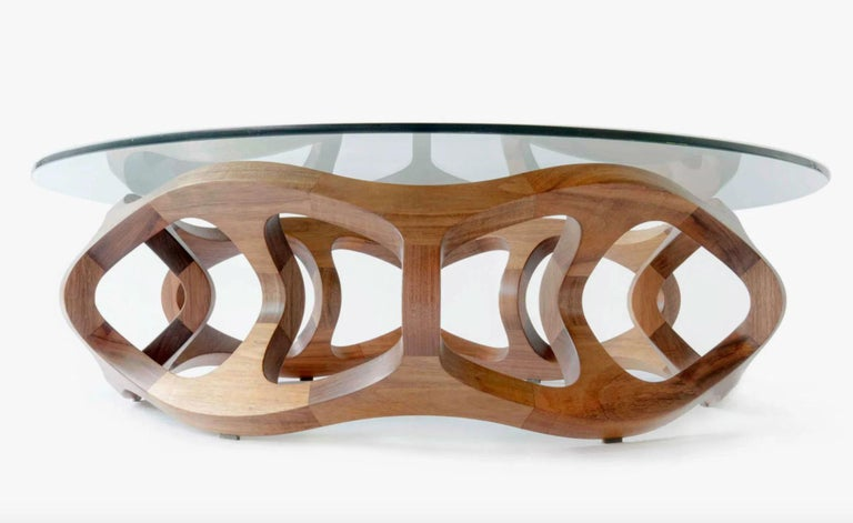 Walnut Contemporary Center Table in Tzalam Wood from Mexico For Sale