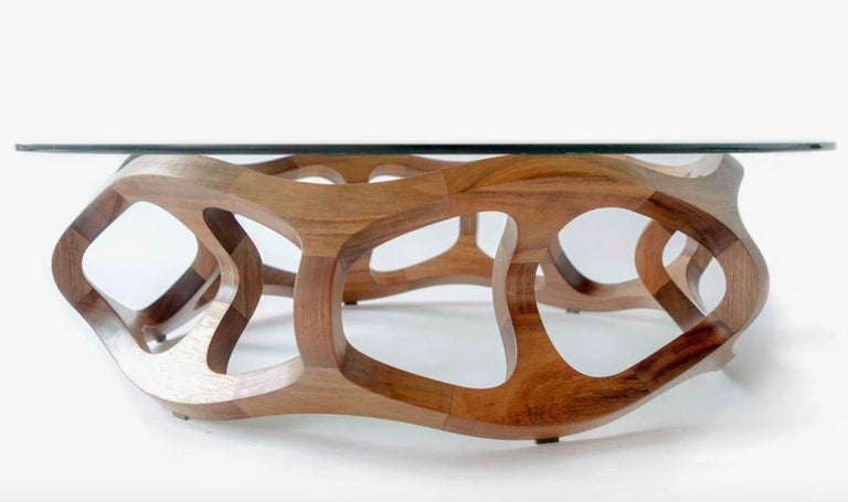 Contemporary Center Table in Tzalam Wood from Mexico For Sale 2