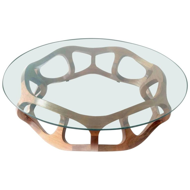 Contemporary Center Table in Tzalam Wood from Mexico For Sale