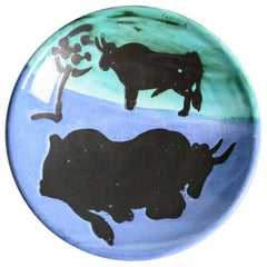"""Toros"" Ceramic Plate by Pablo Picasso for Madoura"