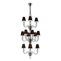 Torpedo Amsterdam 7142 12 Chandelier in Glass & Black Shade, by Barovier&Toso