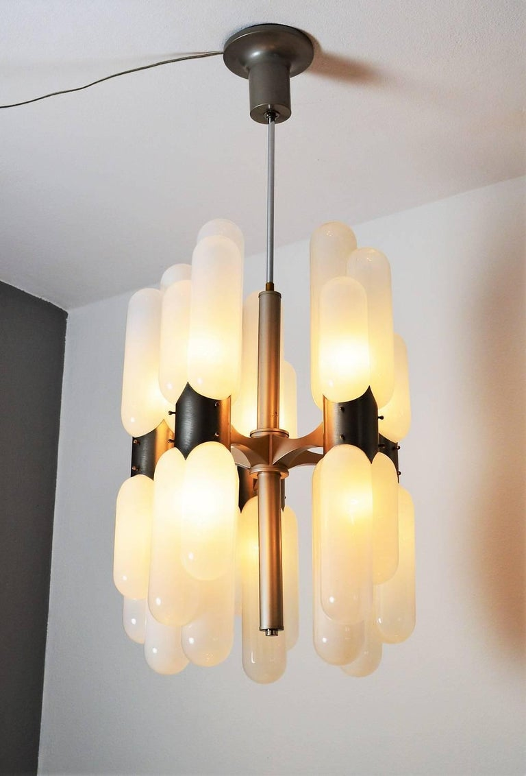 Italian Torpedo Chandelier by Carlo Nason for Mazzega, 1960s For Sale