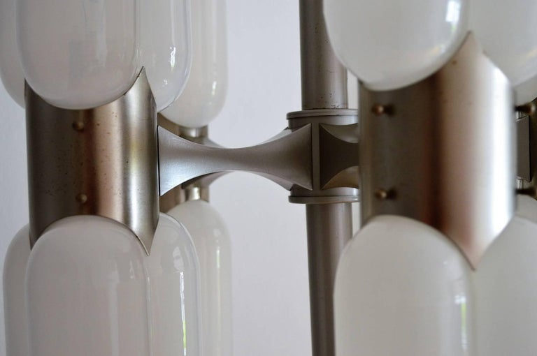 Metal Torpedo Chandelier by Carlo Nason for Mazzega, 1960s For Sale