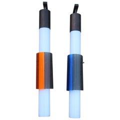 Torpedoes Pair of Midcentury Sconces Stilux Blu Orande White Black 1950s