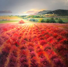 Contemporary Red Rural Landscape Painting with Trees 'Scarlet Meadow' by