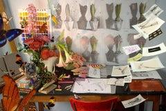 A Sudden Flutter - Artist studio vignette w/ butterflies, drawings, lily flowers