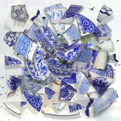 Shards of Blue with Birds - Blue & white porcelain ceramic circular collage