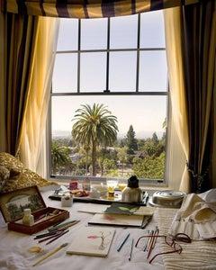 Still Life with California - Artist hotel studio breakfast, paints, palm trees