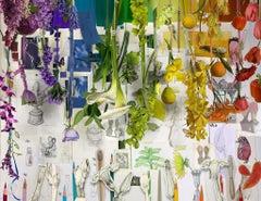 Studio Flower Project - Rainbow flora & fruit, artist prints & drawing collage