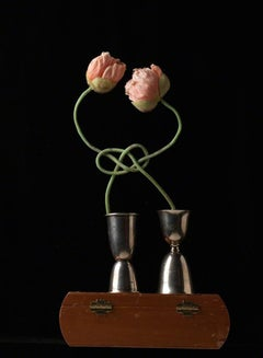 True Lover's Knot - Romantic intertwined pink roses in metal double shot glasses