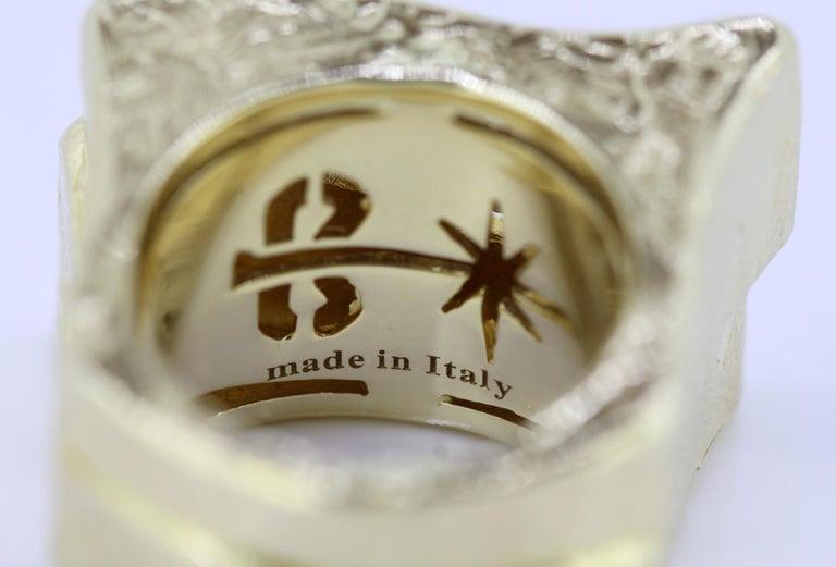 Torrini, 14 Karat Gold Forenze Bilbao Handmade Ring with Diamonds For Sale 6
