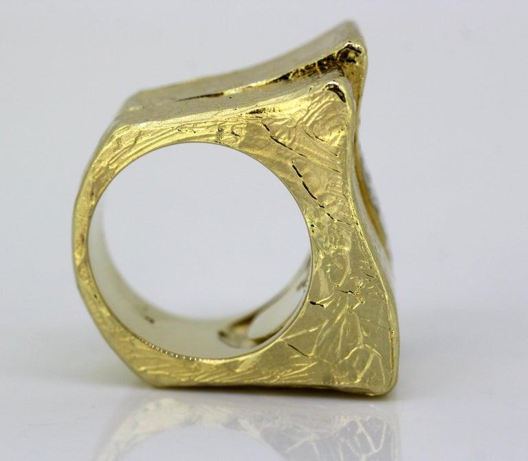 Torrini, 14 Karat Gold Forenze Bilbao Handmade Ring with Diamonds For Sale 7