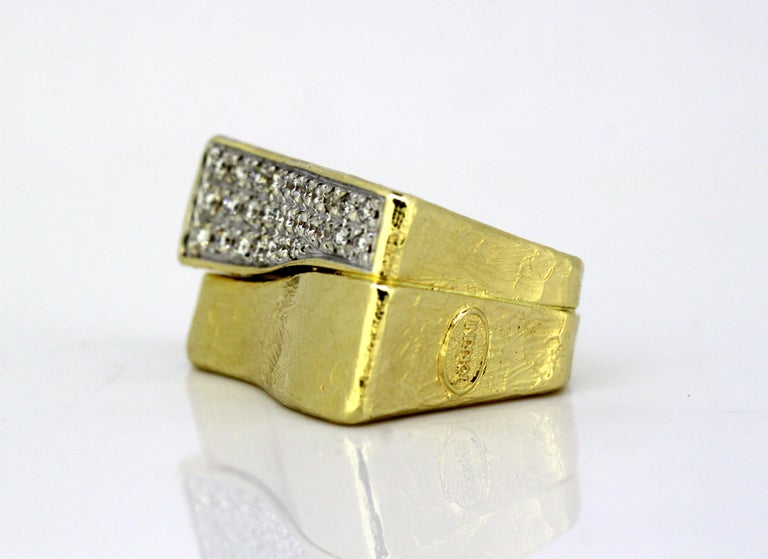 14kt gold Forenze Bilbao handmade ring with diamonds. Designer: Torrini Made in Italy 1990's Fully hallmarked.  Dimension -  Ring Size : 2.7 x 2.6 x 1.8 cms Finger Size : (UK) = M (US) = 6 1/2 (EU) = 52 1/2 Weight : 28 grams  Diamonds -  Cut :
