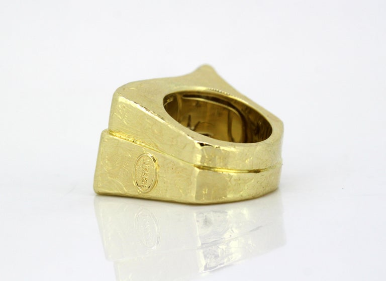 Torrini, 14 Karat Gold Forenze Bilbao Handmade Ring with Diamonds In Good Condition For Sale In Braintree, GB