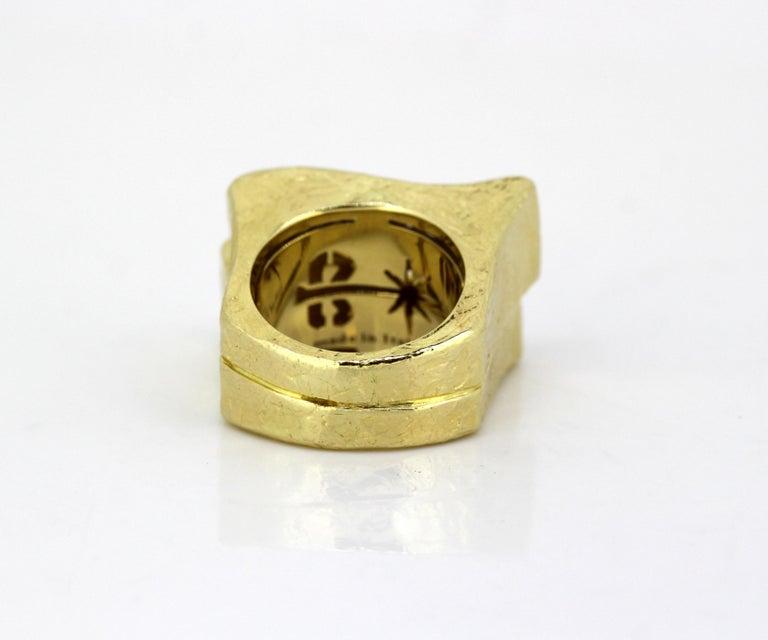 Women's or Men's Torrini, 14 Karat Gold Forenze Bilbao Handmade Ring with Diamonds For Sale