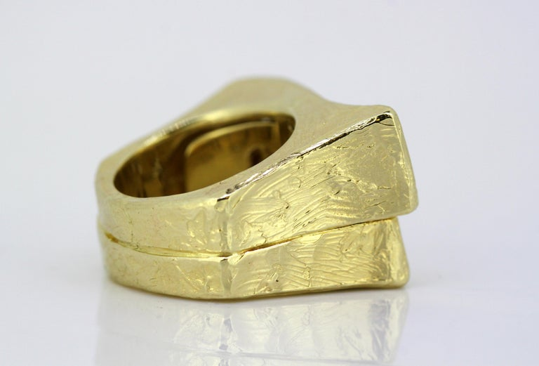 Torrini, 14 Karat Gold Forenze Bilbao Handmade Ring with Diamonds For Sale 1