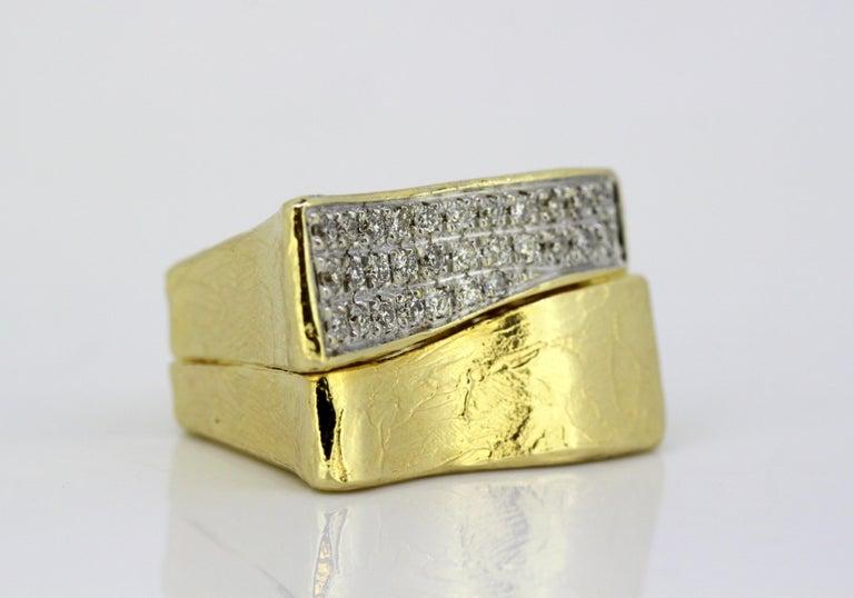 Torrini, 14 Karat Gold Forenze Bilbao Handmade Ring with Diamonds For Sale 2