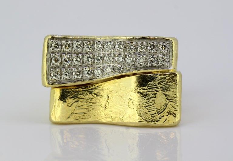 Torrini, 14 Karat Gold Forenze Bilbao Handmade Ring with Diamonds For Sale 3