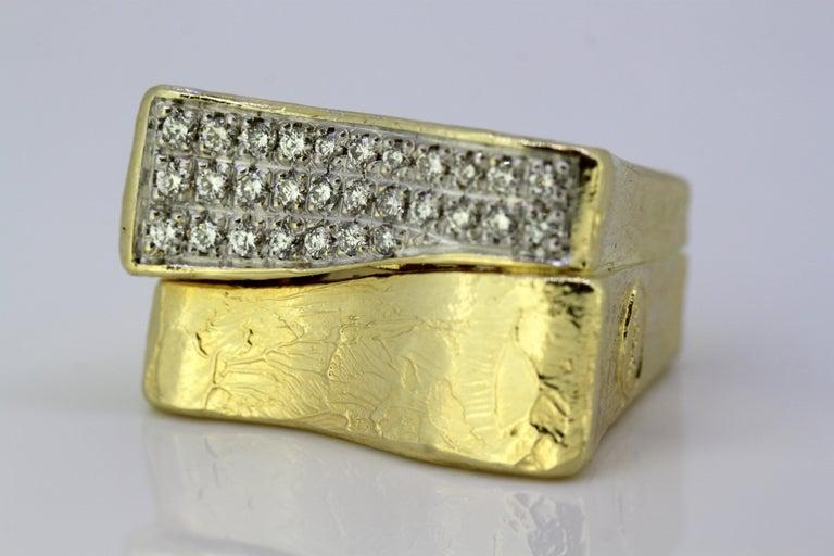 Torrini, 14 Karat Gold Forenze Bilbao Handmade Ring with Diamonds For Sale 4