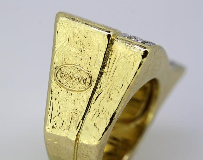Torrini, 14 Karat Gold Forenze Bilbao Handmade Ring with Diamonds For Sale 5