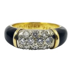 Torrini Black Enamel Ring with Pave Diamond Center