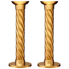 Torsade 24-Karat Set of 2 Candlesticks