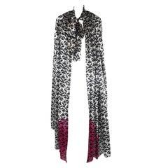 Torso Creations Art Nouveau Silk Print Cape With Pink Tie Dye Hem