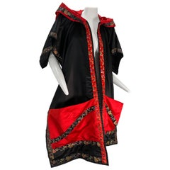 Torso Creations Black & Red Silk Satin Hooded Wrap Stole Trimmed In Brocade Tape