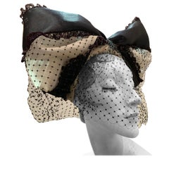 Torso Creations Black & White Bow Headband W/ Dotted Veiling