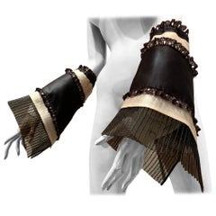 Torso Creations Black & White Shirt-Sleeve Gauntlets W/ Organza Ruffles & Lace