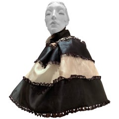 Torso Creations Black & White Silk Satin Ribbon Organza and Lace Tiered Capelet