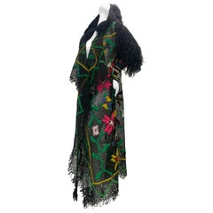 Torso Creations Black Woven & Embroidered Hooded Fringe Boho Maxi Style Duster