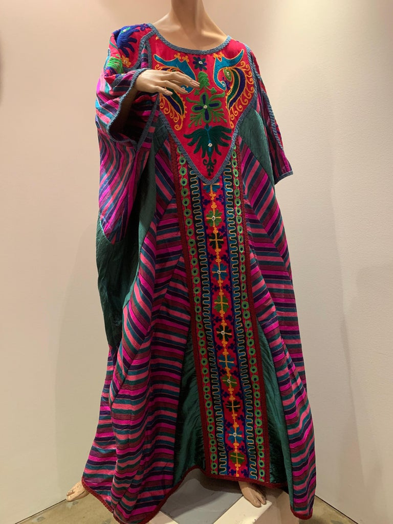 Torso Creations Caftan Of Mexican Embroidered Cotton & Striped Thai Silk For Sale 6