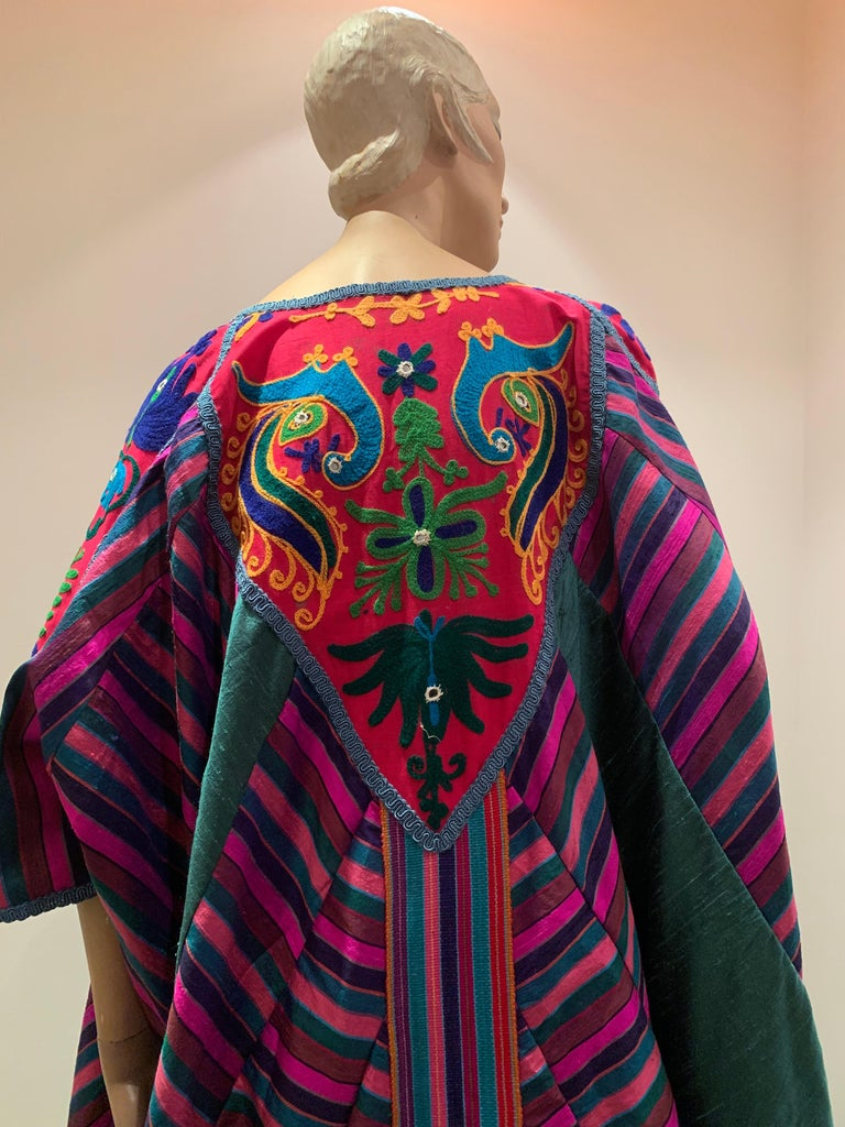 Torso Creations Caftan Of Mexican Embroidered Cotton & Striped Thai Silk For Sale 7
