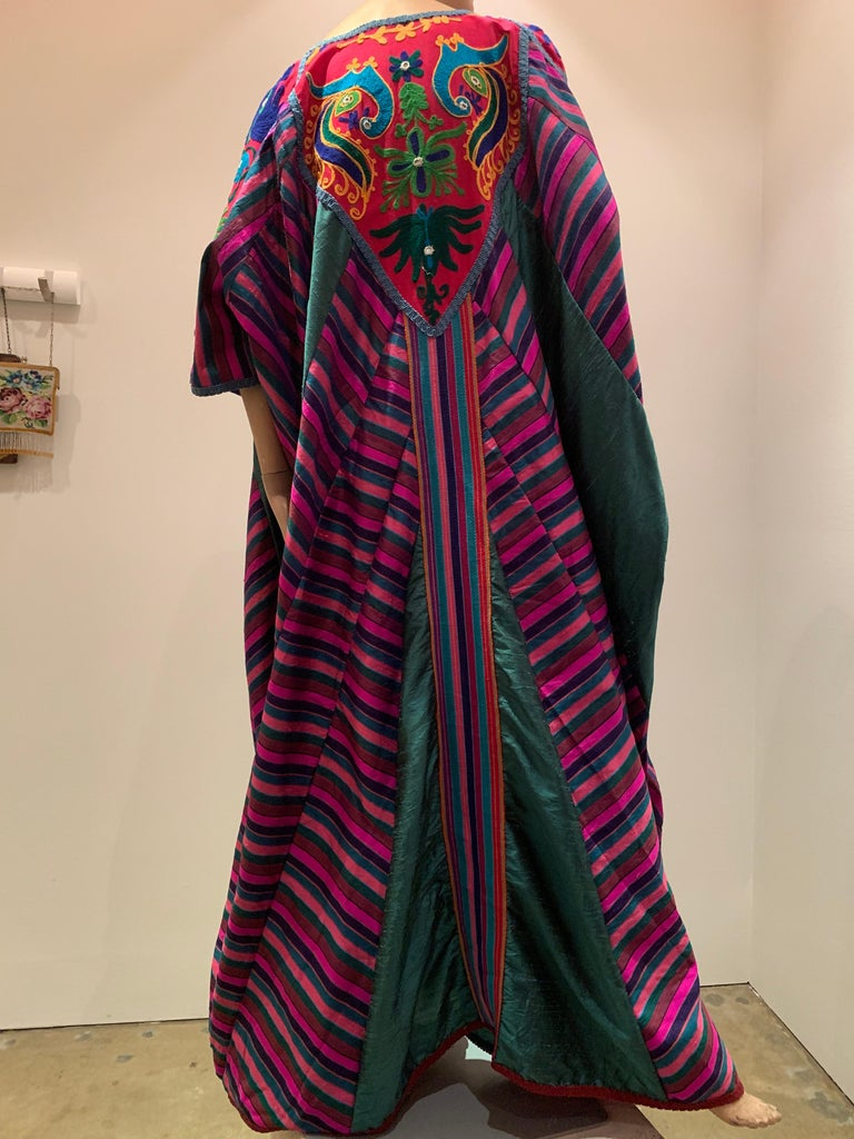 Torso Creations Caftan Of Mexican Embroidered Cotton & Striped Thai Silk For Sale 8