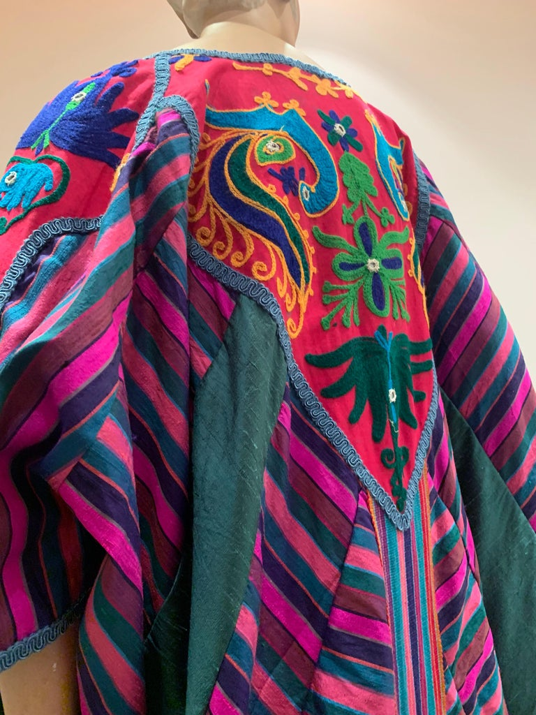 Torso Creations Caftan Of Mexican Embroidered Cotton & Striped Thai Silk For Sale 9