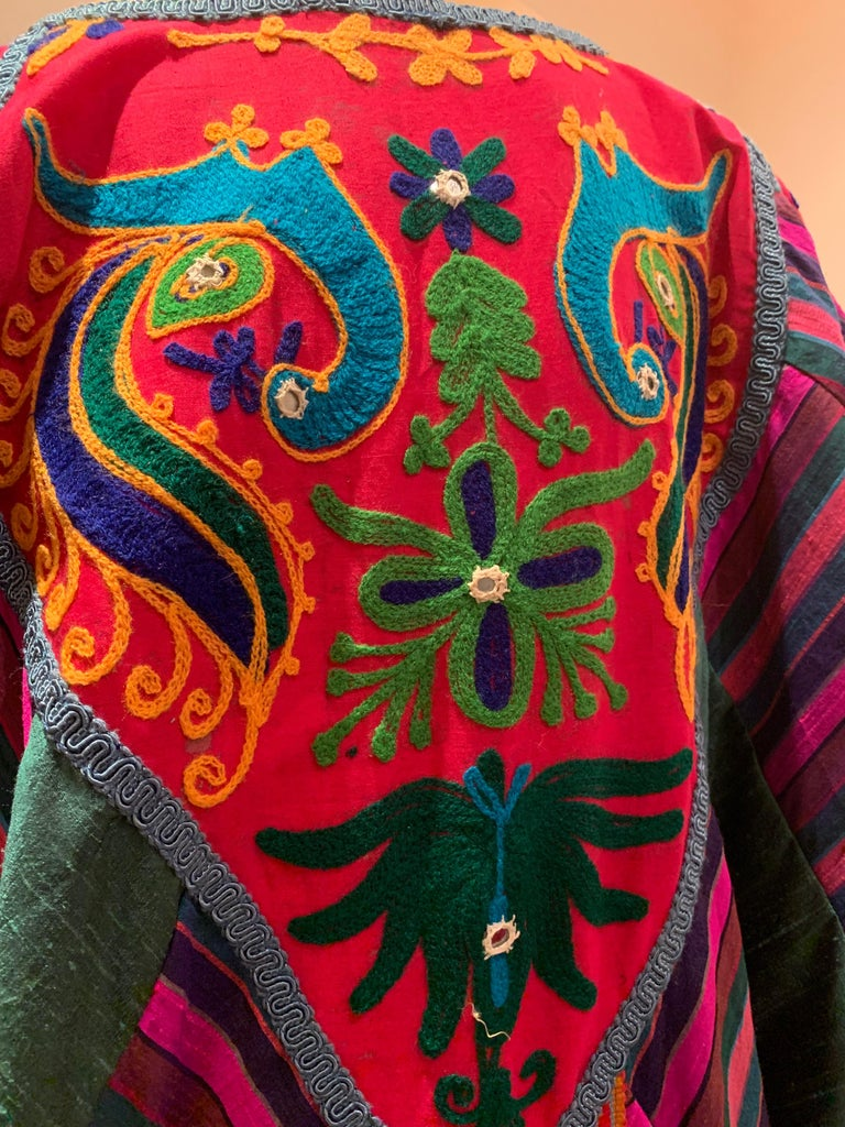 Torso Creations Caftan Of Mexican Embroidered Cotton & Striped Thai Silk For Sale 10