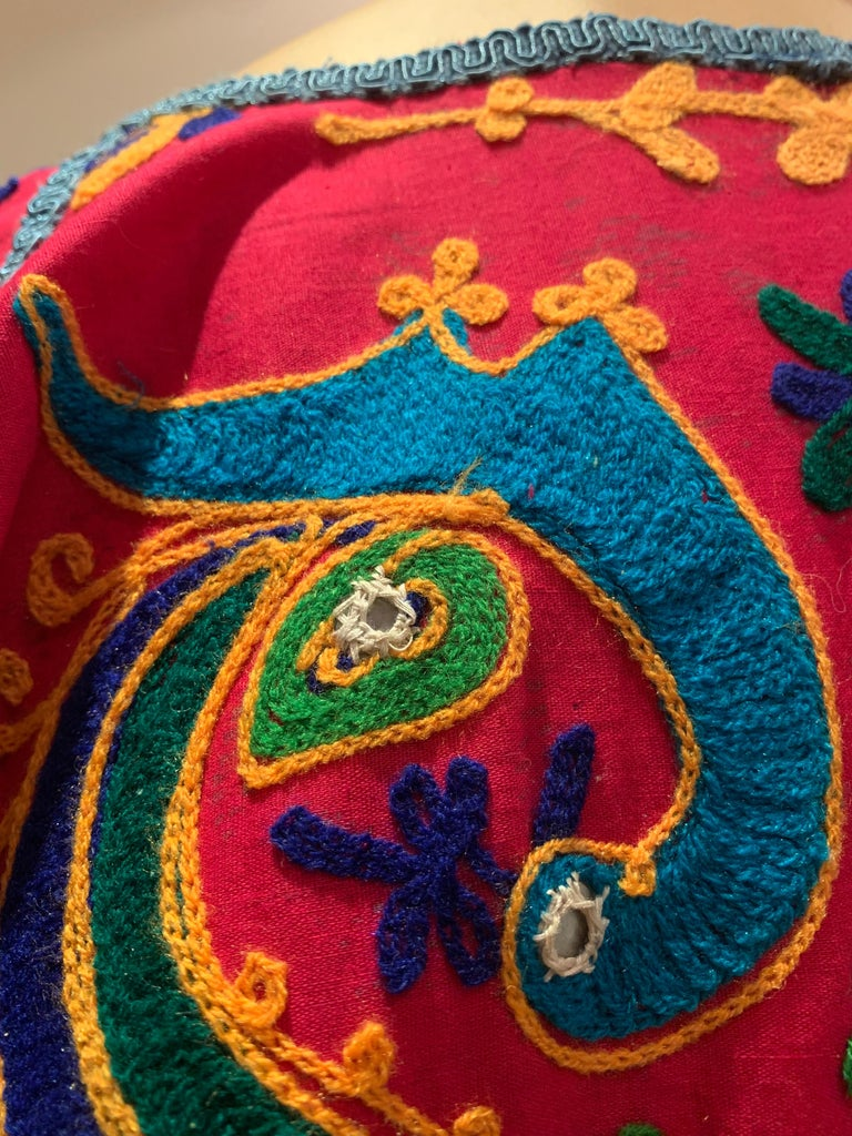 Torso Creations Caftan Of Mexican Embroidered Cotton & Striped Thai Silk For Sale 11