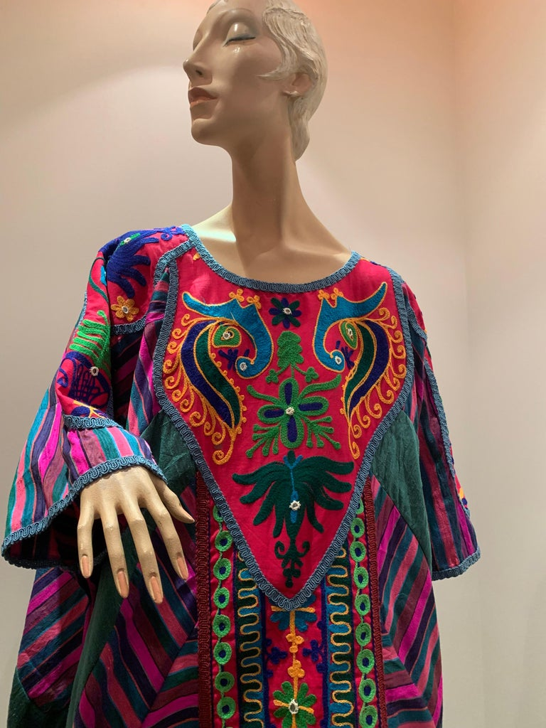 Torso Creations Caftan Of Mexican Embroidered Cotton & Striped Thai Silk For Sale 12