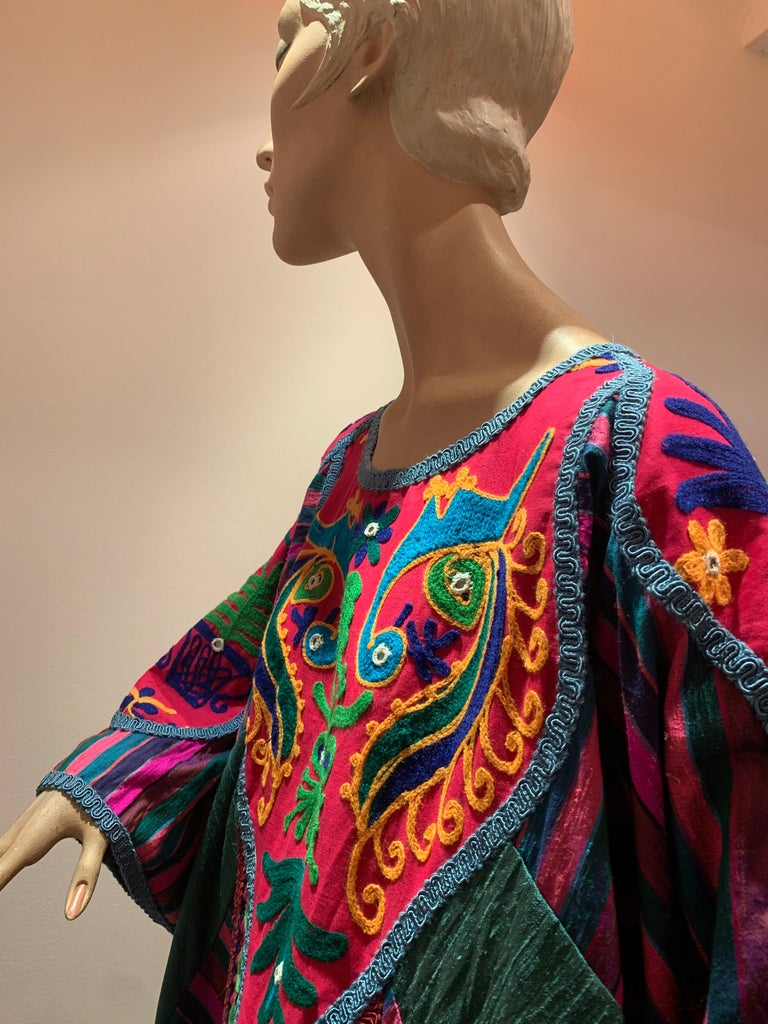 Torso Creations Caftan Of Mexican Embroidered Cotton & Striped Thai Silk For Sale 14