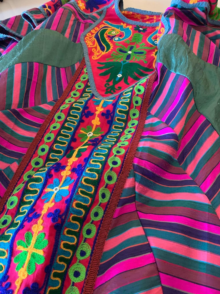 Torso Creations Caftan Of Mexican Embroidered Cotton & Striped Thai Silk For Sale 15