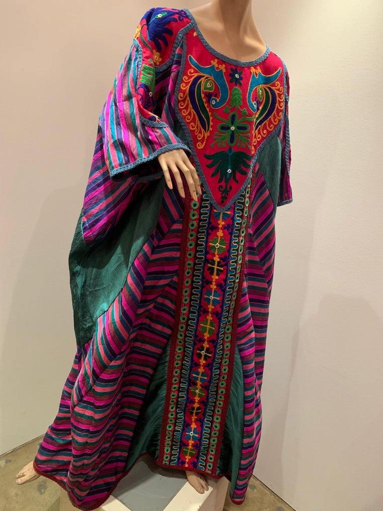 Torso Creations Caftan Of Mexican Embroidered Cotton & Striped Thai Silk in a Myriad of Colors.