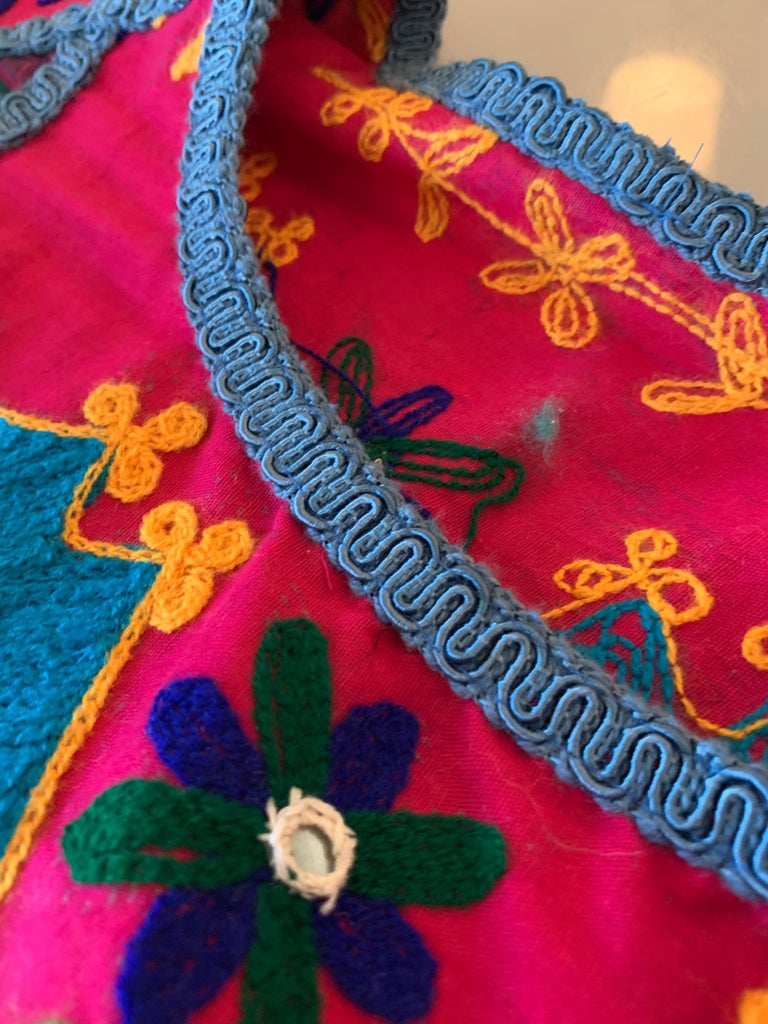 Torso Creations Caftan Of Mexican Embroidered Cotton & Striped Thai Silk For Sale 16