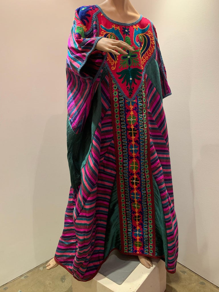 Torso Creations Caftan Of Mexican Embroidered Cotton & Striped Thai Silk In Excellent Condition For Sale In San Francisco, CA