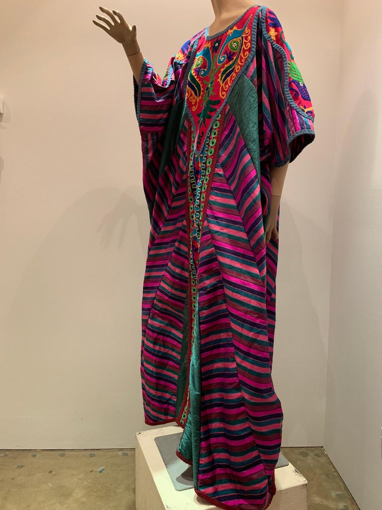 Women's or Men's Torso Creations Caftan Of Mexican Embroidered Cotton & Striped Thai Silk For Sale