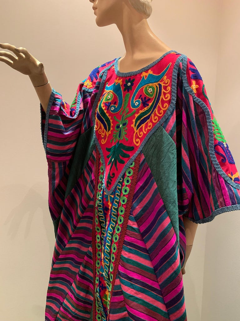 Torso Creations Caftan Of Mexican Embroidered Cotton & Striped Thai Silk For Sale 1
