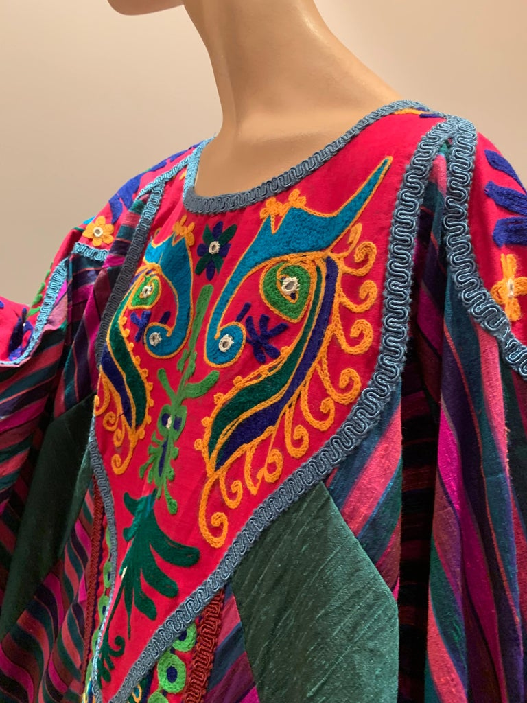 Torso Creations Caftan Of Mexican Embroidered Cotton & Striped Thai Silk For Sale 2