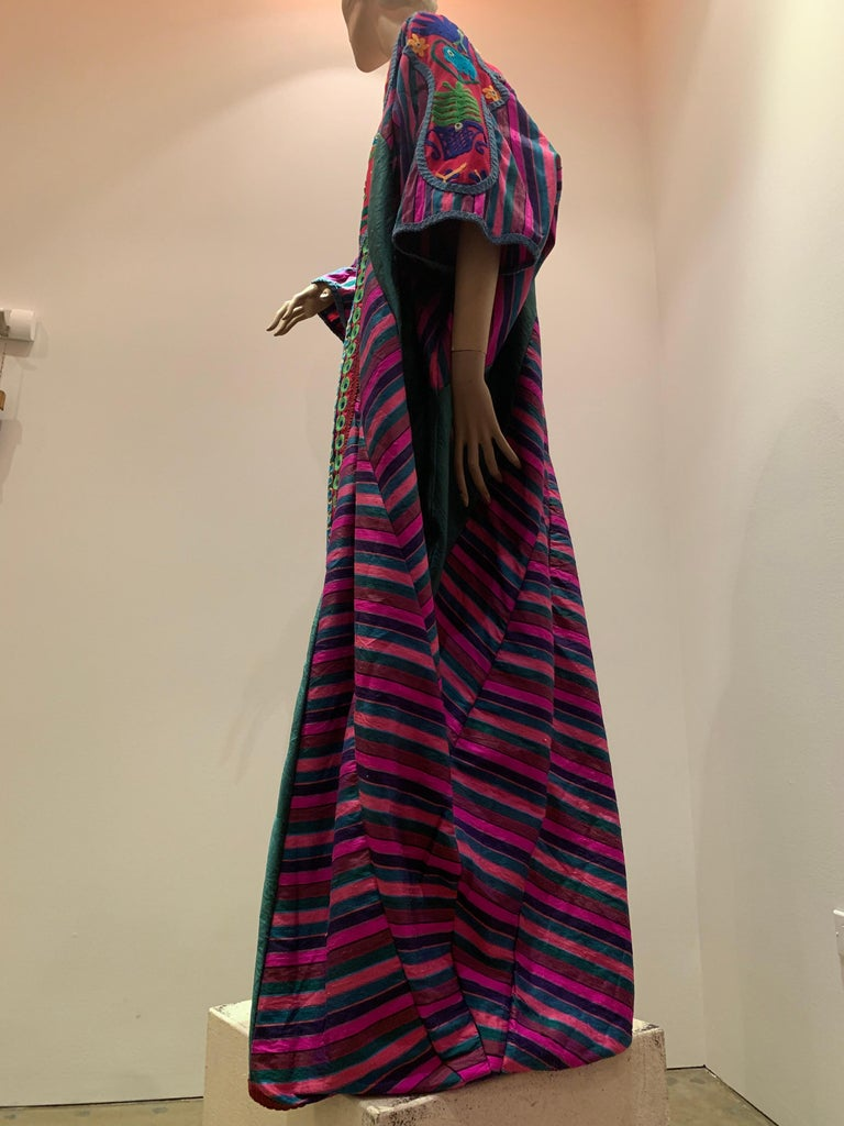 Torso Creations Caftan Of Mexican Embroidered Cotton & Striped Thai Silk For Sale 4